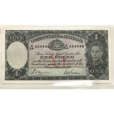 1938 Commonwealth of Australia One Pound Banknote