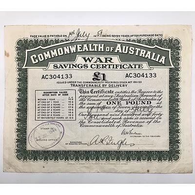 1944 Commonwealth of Australia War Savings Certificate