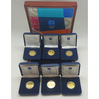 2004 Athens Olympics Six Gold Coin Set in Wooden Presentation Case