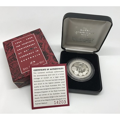 1996 30th Anniversary of Decimal Currency Silver Commemorative Proof Coin