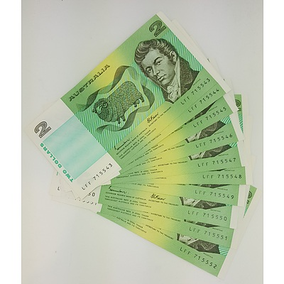 Run of 10 Consecutive Serial Numbered 1985 Last year of Issue $2 Australian Paper Notes