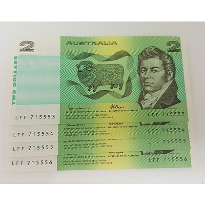 Run of 4 Consecutive Serial Numbered 1985 Last year of Issue $2 Australian Paper Notes