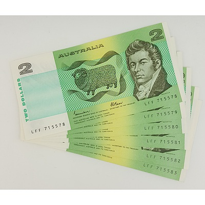 Run of 6 Consecutive Serial Numbered 1985 Last year of Issue $2 Australian Paper Notes