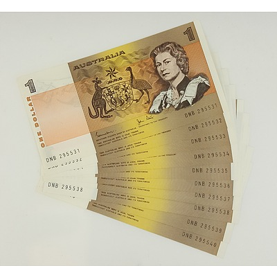 Run of 10 Consecutive Serial Numbered 1982 Last year of Issue $1 Australian Paper Notes