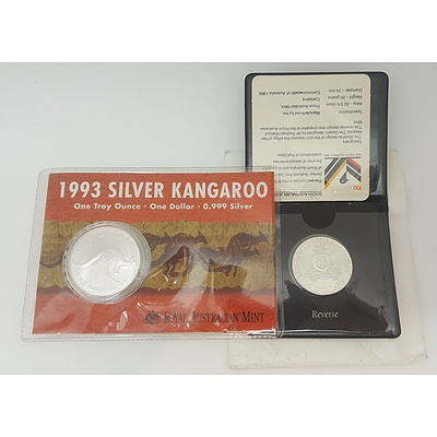 1993 Pure Silver One Ounce Kangaroo and a 1986 RAM $10 South Australian State Series Uncirculated Silver Coin