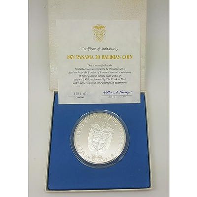 1974 Panama 20 Balboas - Huge Sterling Silver Proof Coin