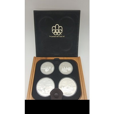 1976 Montreal Olympics Sterling Silver Four Coin Proof Set in Original Display
