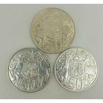 Three Australian 1966 Round Fifty Cent Pieces