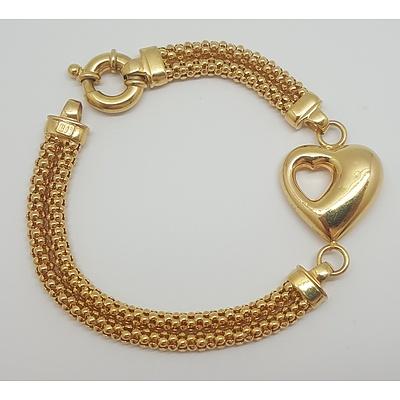 9ct Yellow Gold Double Strand Heart Bracelet made by Italian Jewellers Unoaerre