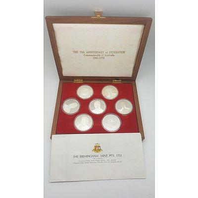 Cased Sterling Silver Federation Commemorative Medal Set