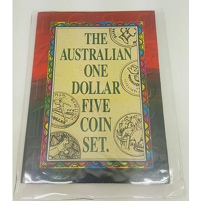 Australian One Dollar Five Coin Set