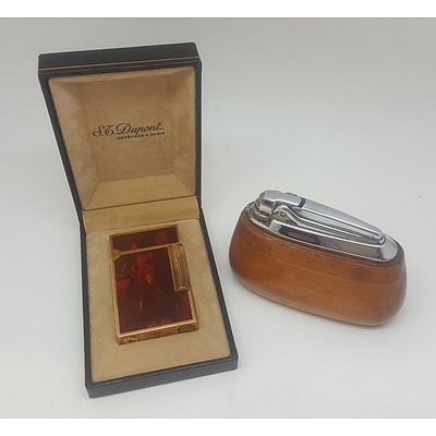 Cased Dupont Lighter and Wooden Table Lighter
