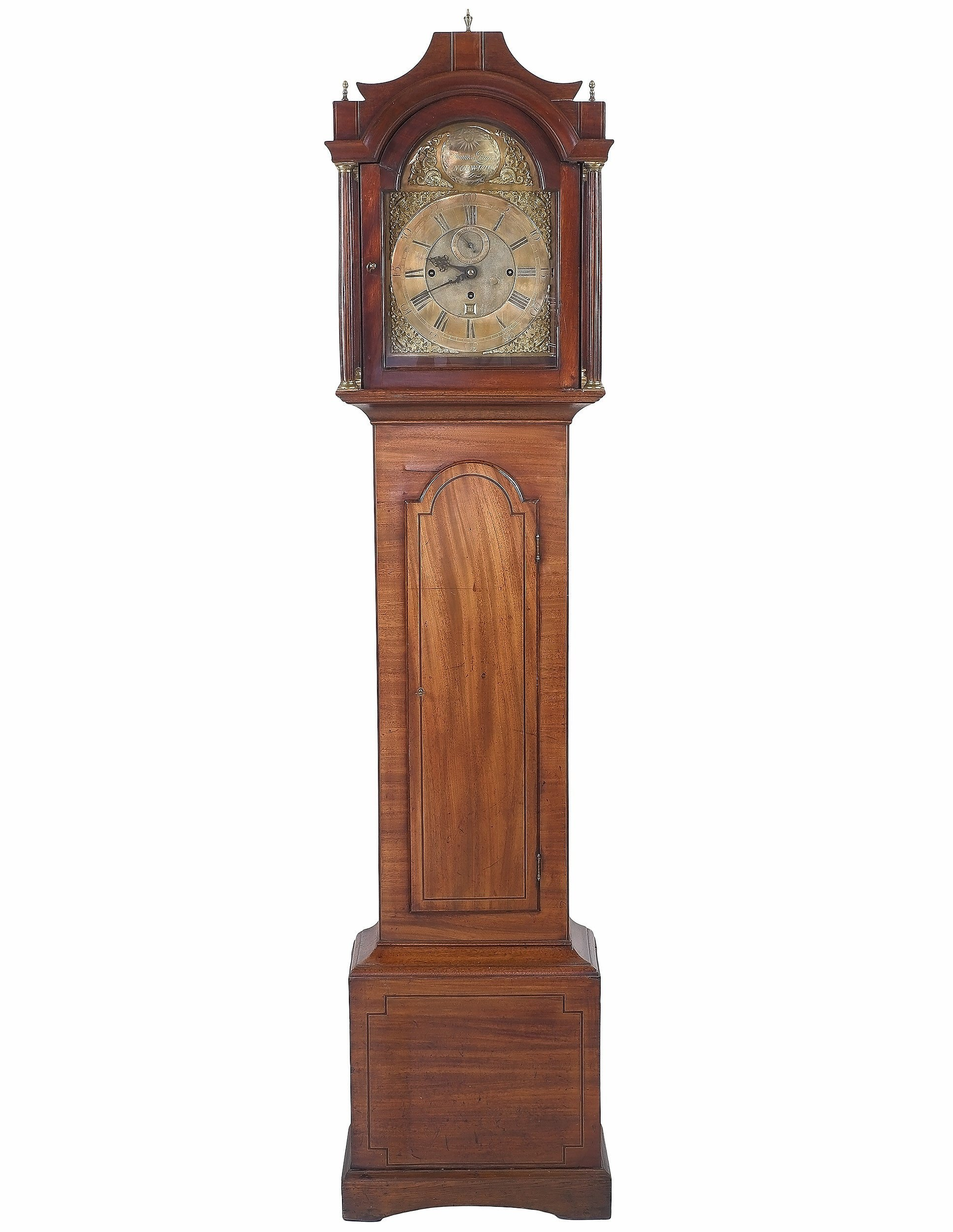 'Fine George III Mahogany Cased Musical Longcase Clock Striking on Eight Bells with Subsidiary Seconds and Calendar Aperture by Thomas Page Norwich Circa 1760'