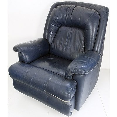 Navy Blue Leather Reclining Armchair