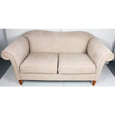 Cream Fabric Upholstered Couch with Three Armchairs