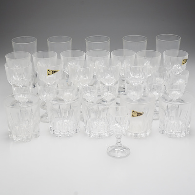 Large Group of Cut Crystal and Glass Stem Ware