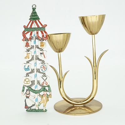 Swedish Ystad Metal Candelabra and a Painted Pewter Ornament
