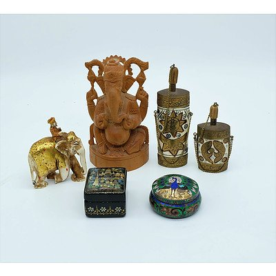 Group of Indian and Persian Ornaments, Including Bone and Brass Snuff Bottles, Painted Bone Elephant Carving, Carving of Ganesh and More