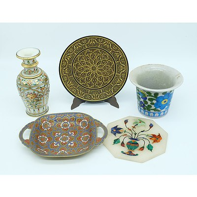 Indian and Persian Ornaments, Including Indian Inlaid Marble Tile, Jaipur Ceramic vase and More
