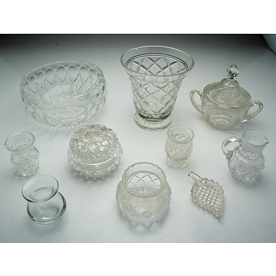Large Group of Cut Crystal and Molded Glass