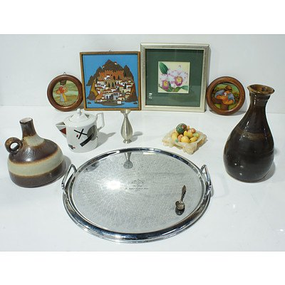 Alabaster Ash Tray, Stoneware vessels, Indian Enamel and More