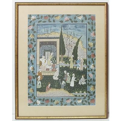 Indian Court Scene Tempera Linen Board