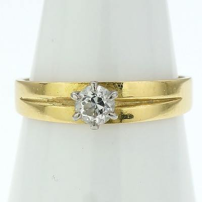18ct Yellow and White Gold Ring With Old Cut Diamond in Six Claw Setting