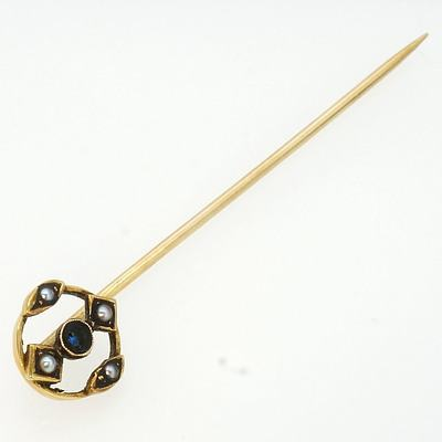 15ct Yellow Gold Sapphire and Seed Pearl Scarf Pin