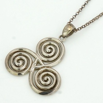 Sterling Silver Chain and Scroll Pendant