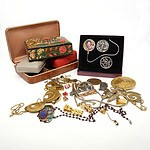 Group of Various Costume Jewellery, Including Oroton Pendant, Cufflinks, Indo Persian Box and More
