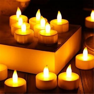 Warm White Flickering Flame LED Tea Lights - Lot of 96