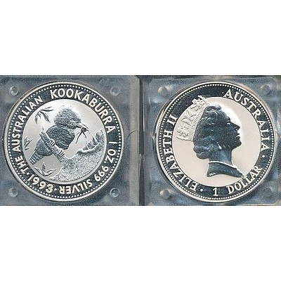 Australia 999 PURE Silver PROOF Kookaburra Coin 1993