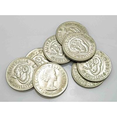 Australia Silver Shillings 1961 (x8)