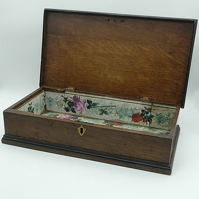 Antique Oak Box, With Brass Escutcheon and Floral Paper Lined Interior