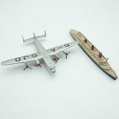 Dinky Toys Plane and A Dinky Toys Queen Mary Ship