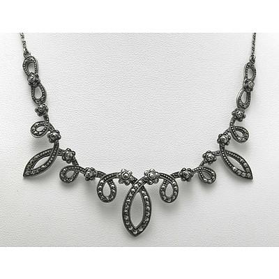 Vintage Marcasite Silver Necklace