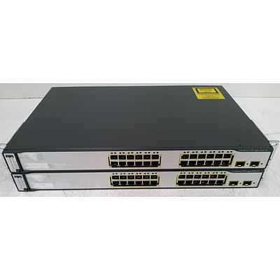 Cisco Catalyst 3750 Series PoE-24 24-Port Fast Ethernet Managed Switch - Lot of Two