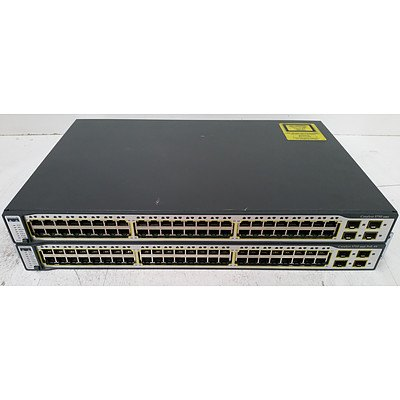Cisco Catalyst 3750 Series 48-Port Fast Ethernet Switches - Lot of Two