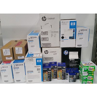 Bulk Lot of Assorted HP, Epson, Samsung & FujiFilm Toner Cartridges and Film Sheets