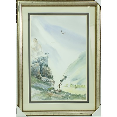 John Driver (Working 1986) Light in the Valley Watercolour