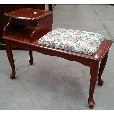 Telephone Table with Embroidered Seat