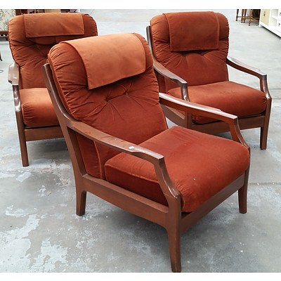 Three Auburn Upholstered Armchairs
