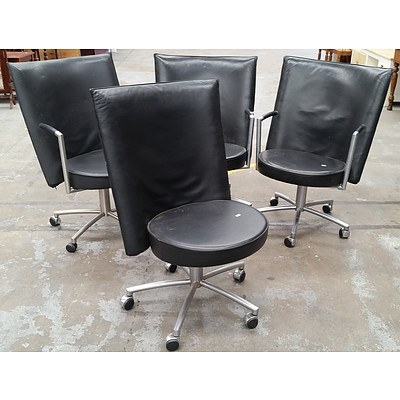 Four Woodmark International PU Designer Swivel Chairs