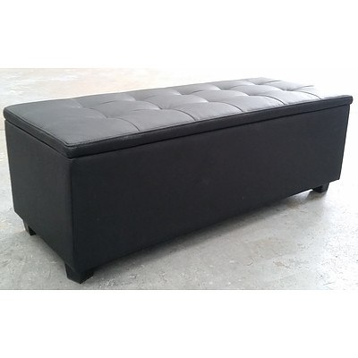 Black PU Leather Cubby Ottoman