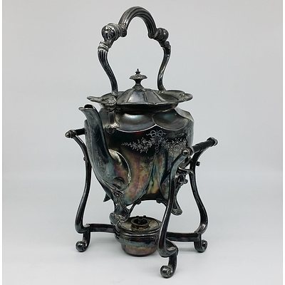 English Silver Plated Spirit Kettle with Bow and Wreath Motif