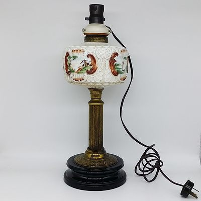 Antique Painted Glass and Brass Lamp