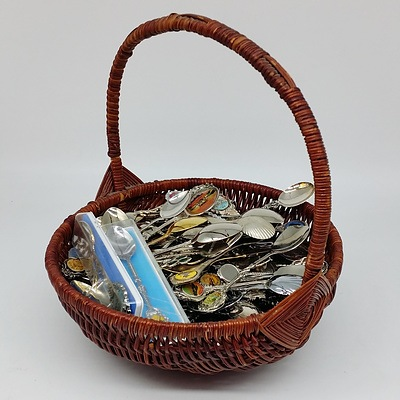 Wicker Basket with Various Tourist Spoons