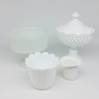 Group of Milk Glass, Including Bon Bon Basket and Rose Bowl