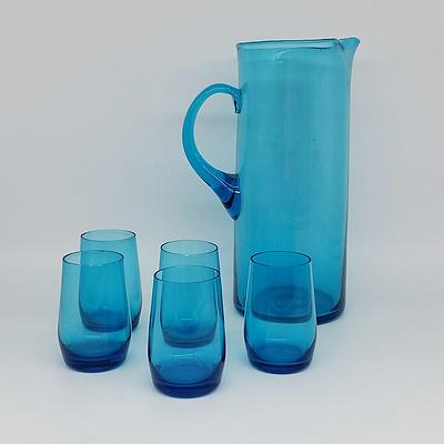 Cobalt Blue Glass Watcher Pitcher Set