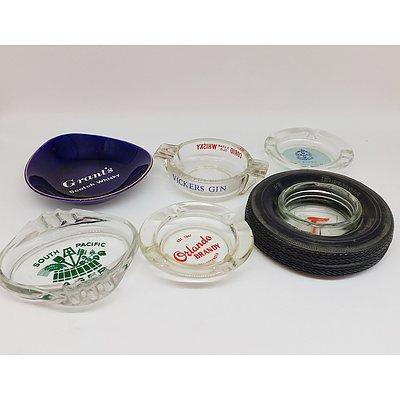 Lot of Assorted Ashtrays Including Glass Ceramic
